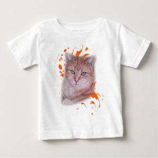 Camiseta Para Bebê Desenho do gato e da pintura alaranjados de gato