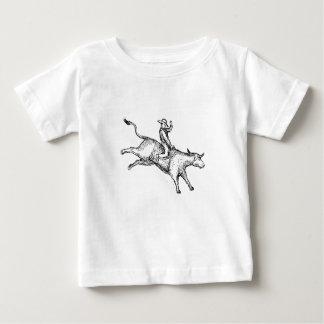 Camiseta Para Bebê Desenho do vaqueiro do rodeio da equitação de Bull