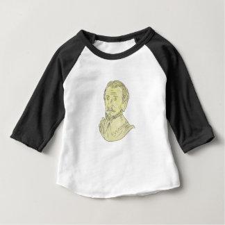 Camiseta Para Bebê Desenho espanhol do século XV do busto do