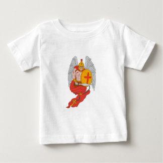 Camiseta Para Bebê Desenho espartano do rosário da espada do anjo do