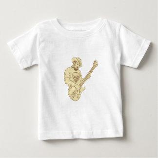 Camiseta Para Bebê Desenho isolado da guitarra baixa do vaqueiro