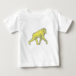 Camiseta Para Bebê Desenho lateral de passeio do chimpanzé