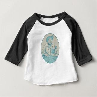 Camiseta Para Bebê Desenho oval da caneca para cerveja do bebedor de