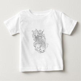 Camiseta Para Bebê Desenho preto e branco da cabeça da gueixa da