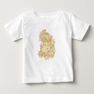 Camiseta Para Bebê Desenho subaquático do capacete do mergulho da
