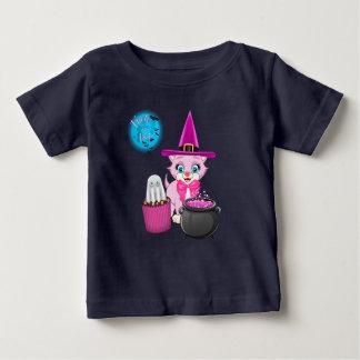 Camiseta Para Bebê Desenhos animados cor-de-rosa do Dia das Bruxas do