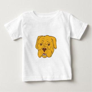 Camiseta Para Bebê Desenhos animados da cabeça de cão do Bordéus