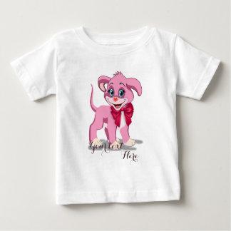 Camiseta Para Bebê Desenhos animados do filhote de cachorro do rosa