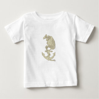 Camiseta Para Bebê Desenhos animados empoleirando-se da âncora do
