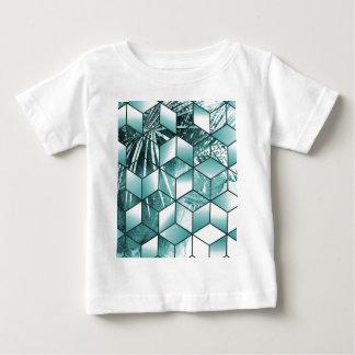 Camiseta Para Bebê Design cúbico tropical das folhas de palmeira do