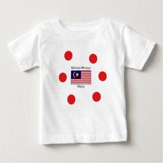 Camiseta Para Bebê Design da língua da bandeira e do Malay de