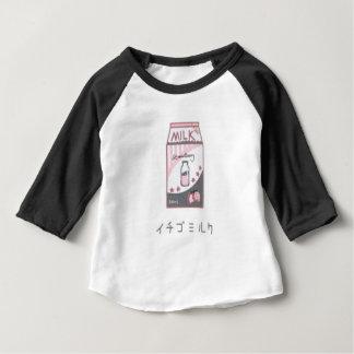 Camiseta Para Bebê Design de Harajuku do leite da morango