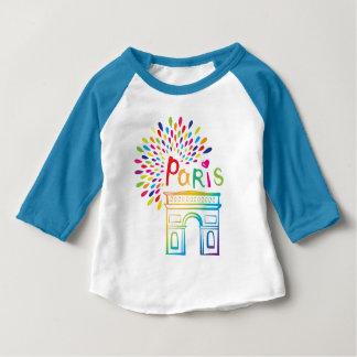 Camiseta Para Bebê Design de néon de Paris France | Arco do Triunfo |