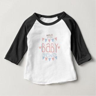 Camiseta Para Bebê Design de papel Templ do convite do chá de fraldas