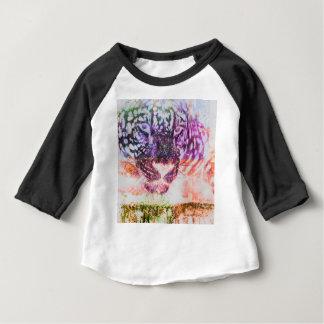 Camiseta Para Bebê Design do gato de Jaguar do arco-íris