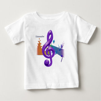 Camiseta Para Bebê Design elegante roxo do Clef de triplo -