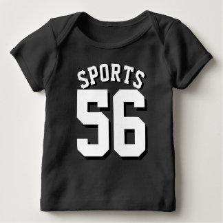 Camiseta Para Bebê Design preto & branco do jérsei dos esportes do