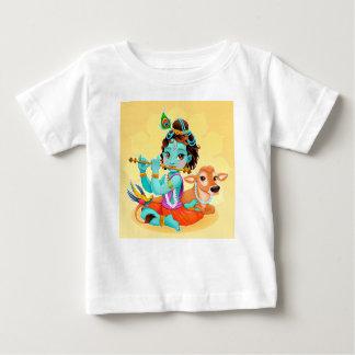 Camiseta Para Bebê Deus indiano de Krishna que joga a ilustração da
