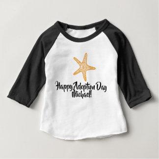 Camiseta Para Bebê Dia feliz da adopção da estrela do mar, T do