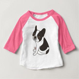 Camiseta Para Bebê Diga olá! ao Frenchie pied encapuçado dobro bonito