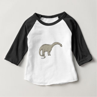 Camiseta Para Bebê Dinossauro do Brontosaurus que olha abaixo da mono