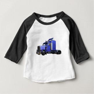Camiseta Para Bebê Do azul caminhão metálico semi na opinião dos três