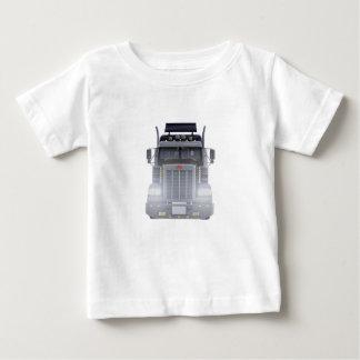 Camiseta Para Bebê Do preto caminhão do reboque de tractor semi com