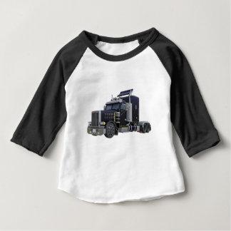 Camiseta Para Bebê Do preto caminhão semi com luzes sobre em uns três
