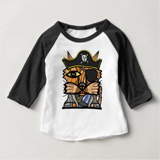 """Camiseta Para Bebê Do """"t-shirt do Raglan do bebê 3/4 do Kat pirata"""""""