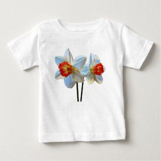 Camiseta Para Bebê Dois brancos e Daffodils alaranjados