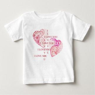 Camiseta Para Bebê Dois corações - eu te amo