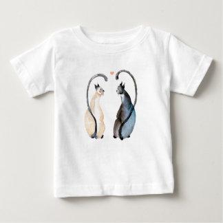 Camiseta Para Bebê Dois gatos no amor