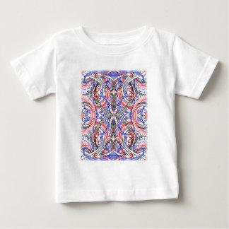 Camiseta Para Bebê Doodle branco vermelho abstrato tirado mão da arte