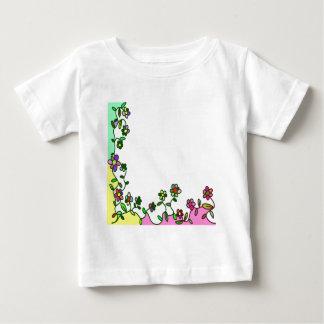 Camiseta Para Bebê doodle floral da flor dos desenhos animados da