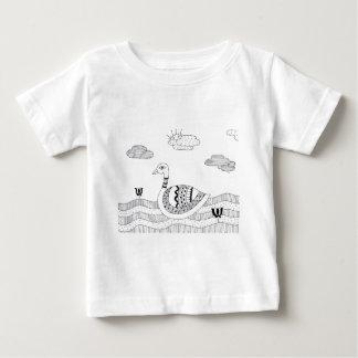 Camiseta Para Bebê Doodle preto e branco da cisne