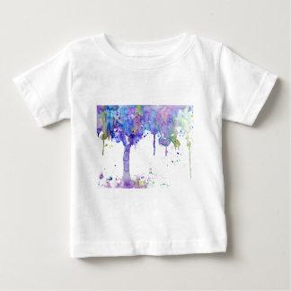 Camiseta Para Bebê Dossel de árvore roxo abstrato da aguarela