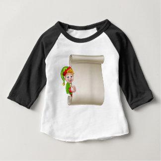Camiseta Para Bebê Duende do ajudante do papai noel do rolo do Natal