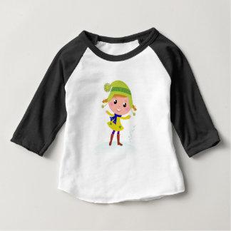 Camiseta Para Bebê Duende verde desenhado mão bonito