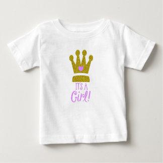 Camiseta Para Bebê É um t-shirt do bebê da tiara do ouro do brilho do