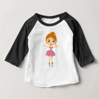 Camiseta Para Bebê Edição bonita tirada mão do rosa da bailarina