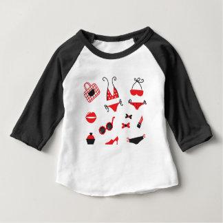 Camiseta Para Bebê Edição do design com ÍCONES do VINTAGE do VERÃO