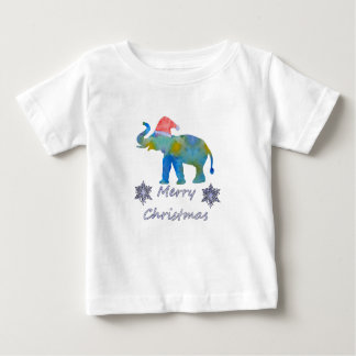 Camiseta Para Bebê Elefante do Natal