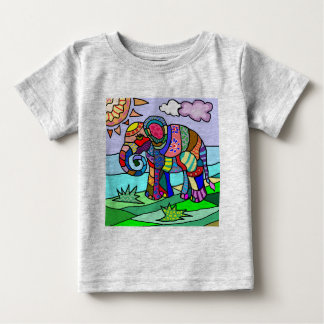Camiseta Para Bebê Elefante vibrante colorido da flor do abstrato da
