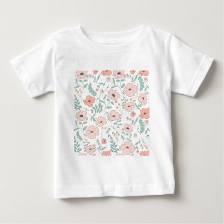 Camiseta Para Bebê Elegant seamless pattern with flowers, vector illu