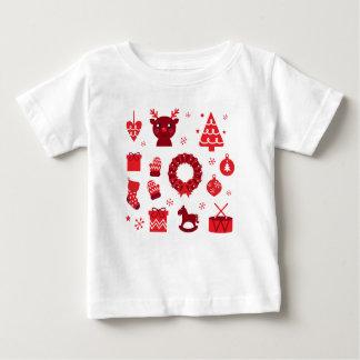 Camiseta Para Bebê Elementos de surpresa do xmas vermelhos
