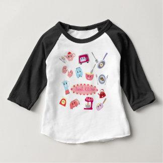 Camiseta Para Bebê Eletricidade cor-de-rosa doce da cozinha e ícone