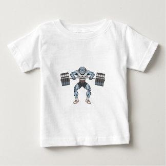 Camiseta Para Bebê elevador de peso do buldogue
