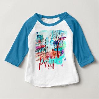 Camiseta Para Bebê Encontre-me na aguarela da torre Eiffel de Paris
