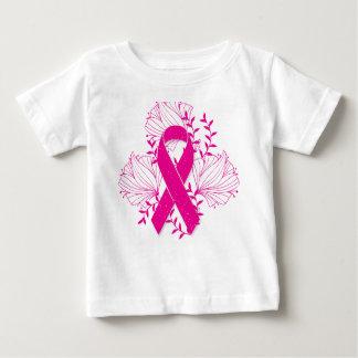 Camiseta Para Bebê Esboço cor-de-rosa da flor da fita da consciência