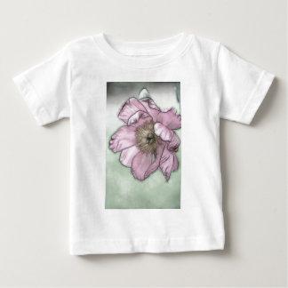 Camiseta Para Bebê Esboço cor-de-rosa da flor da peônia